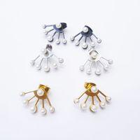 black stainless steel studs - 3 Colors Gold Black Stainless Steel Sector Pearl Earrings Women s Pearl Ear Jacket Stud Earrings Boucle d Oreilles BJ704