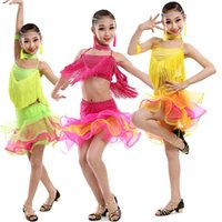 applique skating dress - Kids Sequined latin dancing dress Girls Tassels Salsa dancewear outfits Children s Skating Competitions dance costumes
