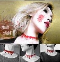 american horror - Halloween Horror Blood Drip Necklace Fancy Dress Fun Joke Choker Red Novelty Accessories For Women