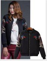 baseball industry - 2016 Spring new women Short coat phoenix Heavy industries co embroidery loose Stand Collar Long sleeve Baseball uniform women