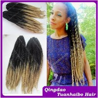 Wholesale Stock Braid quot folded long kanekalon synthetic braids ombre black blonde afro kinky twist synthetic marley braid