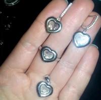 amazing diamonds - Amazing chopar happy heart diamonds zirconia Luxury brand pendant Earring ring Jewelry Set For Wedding Party Evening sterling silver