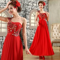 Wholesale The New Bride Inclined Shoulder High Grade Evening Dress Toast Clothing One Shoulder Embroidered Red Dress Bind The Design B