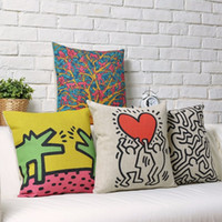 art cool craft - Pittsburg Arts and Crafts Center Keith Haring Art painting Pillow Massager Decorative Pillows Case Emoji Gifts Home Decor Gift