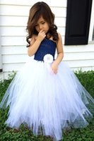 Wholesale Navy Blue and White Flower Girl Wedding Tutu Dress A Line Floor Length pageant Gown for little Girls Kids communion Dress Fashion