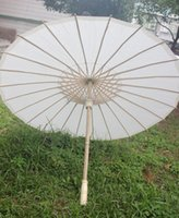 Wholesale New Eco friendly Bamboo With Paper White Color Long handle Bridal Wedding Umbrellas