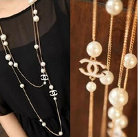 asian loop - New fashion white camellia pearl Necklaces Delicate Europen and America Loop long Sweater Chain bride pearl Necklace ZZS96