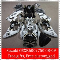 Precio de Suzuki gsxr750 fairing-Regalo libre para la 2008 2009 SUZUKI GSXR600 GSXR750 08 09 GSX-R750 GSX-R600 Lucky GSXR 600 K8 750 del carenado del ABS Custom Kit Huelga Blanco Negro