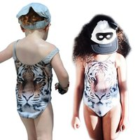 Wholesale Prettybaby kids one piece swimwear girls tiger printing swimsuit lifelike animal printing beach bathing suit swimming wear Pt0357 MI