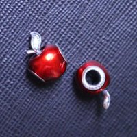 Wholesale 925 SILVER CHARM BRACELTE RED APPLE FOR BEADS JEWELRY