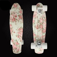 Wholesale Retro Skateboard Flowers Printed Mini Board for Outdoor Sport Street Fish board longboard skateboard