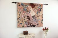 Wholesale Gustav Klimt Lady with Fan Fine Art Tapestry Wall Hanging Home Decor Gift Cotton Jacquard Woven x cm