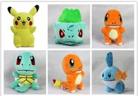 Wholesale Plush Toys Styles In Bulbasaur Charmander Squirtle Plush Dolls Poke Stuffed Animals FREE DHL