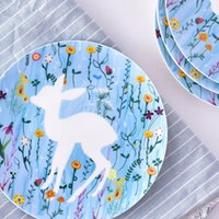 Wholesale Cartoon Series Plate Ceramic Plate Inventory Heart Dish Western High Quality Dessert Plate Four Styles Choose