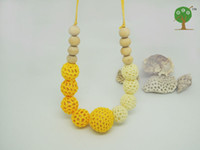 Beaded Necklaces ball and chain leather necklace - Yellow and cream color crochet beads necklace knit ball nursing necklace NW1415