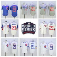 Wholesale Cooperstown Sammy Sosa Jersey Baseball Postseason World Series Chicago Cubs Jerseys Flexbase White Pinstripe Grey Pullover Blue