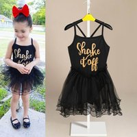 Wholesale 2016 Summer New Girl Dance Dress Performance Dress Girl Letters Black Slip Dress Children Clothing T L670