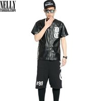 baseball long sleeve tee - Mens Black Leather Baseball Jersey Dxpe Chef Hiphop RAP Baseball Short Sleeve Buttons T shirt Justin Bieber Punk Rock Tee