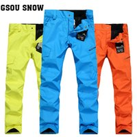Wholesale GSOU SNOW New men s windproof waterproof thermal solid outdoor sport camping and hiking snowboarding and skiing pant