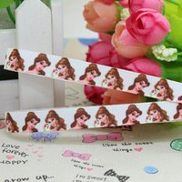 baby bow belle - 3 quot mm Cartoon Princess Belle Printed Grosgrain Ribbon Girl Hair Bow DIY Decos Baby Item Craft Yards A2