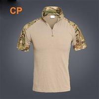 acu combat shirt - Men Summer Army Combat Tactical T Shirt Military Short Sleeve Top T Shirts Hunting Clothes CP ACU Multicamo Shirts