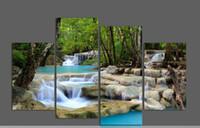 al por mayor cuadros por segundo-4 Piezas Wall Art Cascada Verde Lago Grandes HD Top-rated Impresión de lienzo Pintura Óleo Pinturas Casa Decoración Habitación Enmarcado