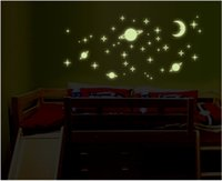 astronauts for kids - Vinyl Fluorescent stars glow in the dark home decor Luminous space Planets universe rocket astronaut Wall Stickers for kids baby room