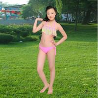 Wholesale PrettyBaby Summer solid tassel kids girls swimwear bikini baby girl swimwear swimsuits bikini bathing suits
