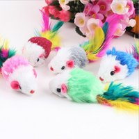 Wholesale 5pcs Colorful Funny Plush Mini Mouse Toys Pets Cat Playing Toy Long tail feather mouse pet supplies