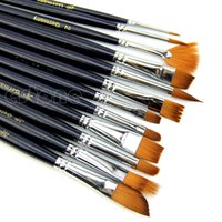 artist watercolour paints - 12 x Nylon Hair Artist Watercolour Acrylic Oil Painting Paint Brush Set Supply Tool for Beauty Health