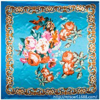 Cheap National Bohemian Style Floral Painted Flower women silk satin large square scarf 90cm*90cm