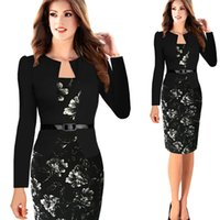 Wholesale Womens Bodycon Elegant Fashion Long Sleeve Casual Dress Clubwear Club Wear To Work Dress With Belt S XL