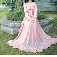 Wholesale Summer pink Long Sleeve Women Dress Lotus leaf edge muslim dress