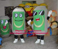 beer can costume - Lively Gray Beverage Beer Zip top Pop top Ring pull Beverage Can Mascot Costume Cartoon Character Mascotte Green Face No FS