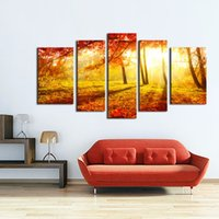 ar decors - LK5123 Panels Autumn Maple Trees Forest Sunny Day Oil Painting On Canvas Landscape Wall Ar Giclee Artwork For Wall Decor Unframed Framed