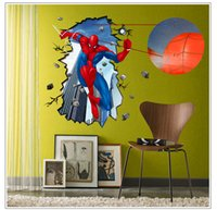 Wholesale The D PVC Eco friendly wall stickers wallpaper home decoration for children living room new style spider man removable