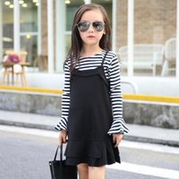bell western - 2016 Cheap Two Pieces Cute Fall Stripes Girl s Dresses Knitted Ruffles Dress Bell Long Sleeves Cute Baby Party Dress Western Dress MC0140