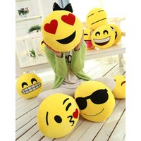 Wholesale 16 styles Diameter Cushion Cute Lovely Emoji Smiley Pillows Cartoon Cushion Pillows Yellow Round Pillow Stuffed Plush Toy