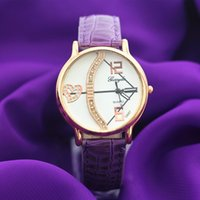belt pvc - PVC leather band gold plate alloy round case UP heart dial quartz movement gerryda fashion woman lady quartz leather watch