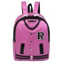 best baseball colleges - New hot best Harajuku college preppy style baseball jacket clothes rivet wind backpack PU shoulder bag men s schoolbag