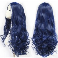 Wholesale deep wave human hair Blue Wigs Long curly Hair with Bang Synthetic Sexy Wig Womens Fashion Full Wig Party Beautiful Wigs