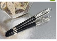 Wholesale PURE PEARL MB SW High Quality Best Design Stripes Crystal Silver Cap Black Barrel Roller Ball Pen