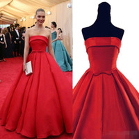 Wholesale 2016 Strapless Red Carpet Celebrity Dresses Floor Length Actual Image Prom Dresses Ruched Backless Red Dresses Evening Wear