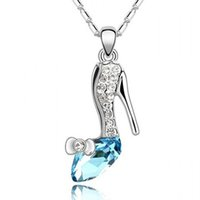 Wholesale 2016 new Girl Noble K Gold Plated Jewelry Cinderella Crystal shoes Pendant Austria Crystal Necklace