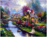 art picture mosaic - Diy diamond mosaic painting Embroidery with diamonds Crafts Needlework gift for wall art decor pictures Beautiful villages Y431