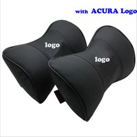 acura mdx seats - 2 car styling Genuine Leather Auto Car Logo Headrest Neck Pillow Seat Cushion Covers For Acura ILX MDX RDX RL
