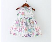 animal litter - 2016 summer girls bird full print cotton dresses baby chiffon litter bird animal cartoon vest dress