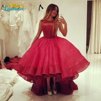 Wholesale High Low Lace burgundy Graduation Dresses Scoop short front long back Evening Gowns Puffy Prom Dress for Girls Vestido Formatura