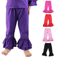 Wholesale Kids Pants Children s Little Girl Double Ruffle Soft Flare Pants Available in Various Color Years