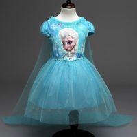 Wholesale European and American girls Frozen Elsa princess skirt short sleeved dress cloak trailing gauze skirt children